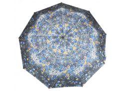Женский симпатичный прочный зонтик полуавтомат art. 00461 маленькие цветочки на черном фоне (100198)