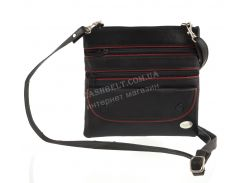 Мужская стильная черная наплечная сумка с натуральной кожи с красными вставками SWAN  art. с клапаном 1