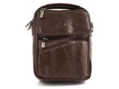 Качественная прочная мужская сумка почтальонка с качественной PU кожи CANTLOR art. 1322-163 коричневый