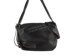 Стильная кожаная наплечная женская сумка с мягкой кожи  art. 1506 черная Турция