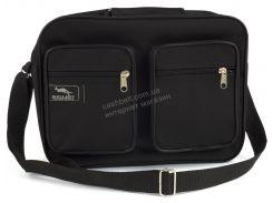 Вместительная мужская текстильная сумка черного цвета WALLABY art. 2611 Украина