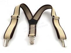 Детские подтяжки-резинка бежевые с коричневыми полосками (100419)