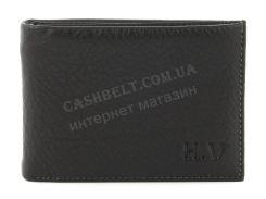 Удобный мужской кошелек с зажимом для купюр из натуральной качественной кожиH.V. art. 070 черный