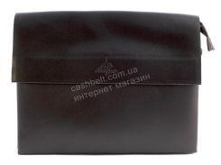 Качественная мужская наплечная сумка под формат А4 с прочной PU кожи LANGSA art. 886-6 темно коричневая