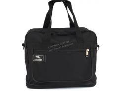 Вместительная мужская текстильная сумка черного цвета с двойным дном WALLABY art. 2071 Украина