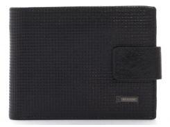 Кожаный тисненыйчерный аккуратный мужской кошелек с зажимом для денег Hassionart. LF302-9 black