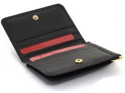 Кожаный черный аккуратный прочный мужской кошелек с зажимом для денег Salfeite art. 2143 black