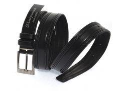 Кожаный прочный подростковый ремень3см (103128) черный