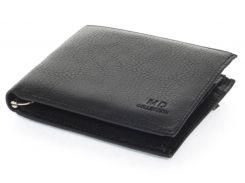 Кожаный черный аккуратный мужской кошелек с зажимом для денегMD collection art. 8806 black