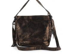 Стильная  женская мягкая сумка из натуральной кожи с лазерной обработкой PRINCESSA art. 7592 золотистая
