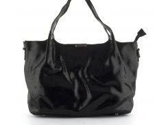 Стильная  женская мягкая сумка из натуральной кожи с лазерной обработкой PRINCESSA art. 8813 черная