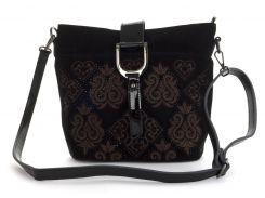 Стильная  женская мягкая сумка из натуральной кожи с замшевой лицевой частью Princessa art. 936 черная