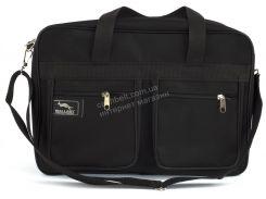 Вместительная мужская текстильная сумка черного цвета WALLABY art. 2630 Украина