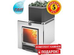 Дровяная печь для бани и сауны Теплодар Русь-Панорама 22 ЛНЗП профи с ГЛП