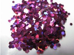 Глиттер шестиугольный el Studio (фиолетовый, голограммный) 2 г