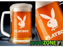 Пивной бокал с именной гравировкой Playboy