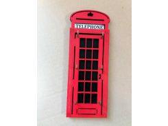 """Ключница из дерева """"Лондонская телефонная будка"""""""