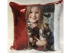 Подушка с пайетками и Вашим фото