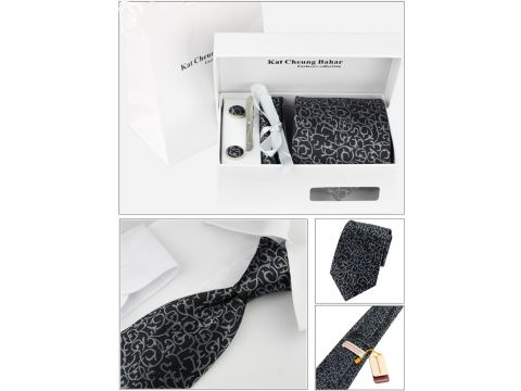 Галстук в наборе с запонками, зажимом декоративным платком, в подарочной упаковке, цвет черный Киев