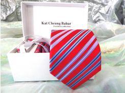 Красный яркий галстук в полоску в наборе с запонками, зажимом в подарочной упаковке