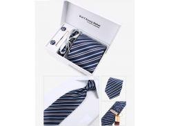 Синий в мелкую полоску галстук с запонками в наборе
