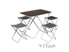 """Комплект раскладной стол с 4-мя стульями с алюминиевым каркасом """"Пикник""""."""