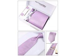 Фиолетовый галстук с запонками, зажим, декоративный платок, в подарочной упаковке
