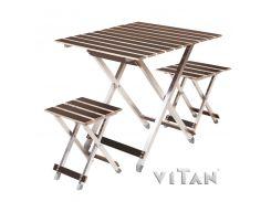 """Комплект большой раскладной стол с двумя стульями  """"ALUWOOD"""""""