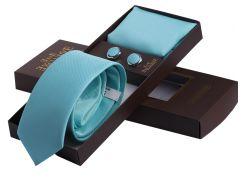 Однотонный бирюзовый галстук в наборе