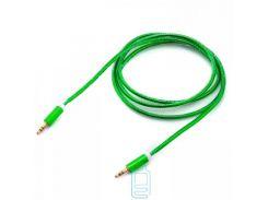 AUX кабель 3.5 c металлическим штекером 1.5 метра зеленый