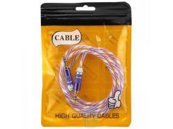 AUX кабель 3.5 силикон-металл Twisted фиолетовый