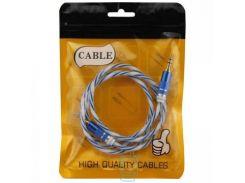 AUX кабель 3.5 силикон-металл Twisted синий