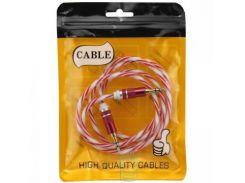 AUX кабель 3.5 силикон-металл Twisted красный