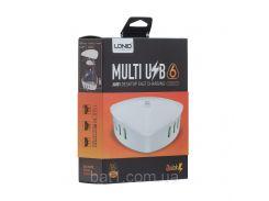 Сетевая зарядка удлинитель 6 USB / 7A LDNIO A6801 QC 3.0 (Белый) быстрая зарядка