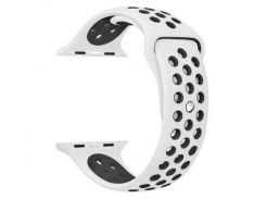Ремешок перфорация, Soft touch для Apple Watch (42мм) бело-чёрный