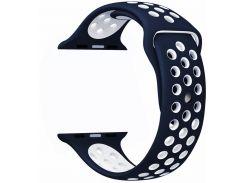 Ремешок перфорация, Soft touch для Apple Watch (42мм) чёрно-белый