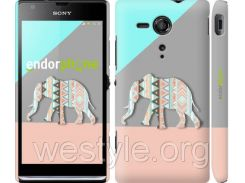 """Чехол на Sony Xperia SP M35H Узорчатый слон """"2833c-280-2448"""""""