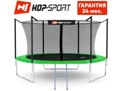 Батуты детские и для взрослых Hop-Sport 305 см. Зеленый с внутренней сеткой - 3 ножки, Германия. Гарантия 24 мес.