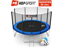 Батуты детские и для взрослых Hop-Sport 366 см. Синий с внешней сеткой - 4 ножки, Германия. Гарантия 24 мес.