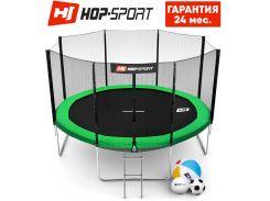 Батуты детские и для взрослых Hop-Sport 366 см. Зеленый с внешней сеткой - 4 ножки, Германия. Гарантия 24 мес.