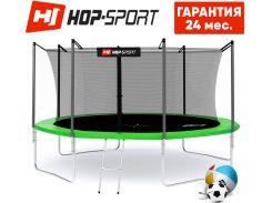 Батуты детские и для взрослых Hop-Sport 427 см. Зеленый с внутренней сеткой - 4 ножки, Германия. Гарантия 24 мес.