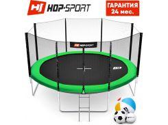 Батуты детские и для взрослых Hop-Sport 427 см. Зеленый с внешней сеткой - 4 ножки, Германия. Гарантия 24 мес.