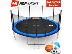 Батуты детские и для взрослых Hop-Sport 488 см. Синий с внешней сеткой - 5 ножки, Германия. Гарантия 24 мес.