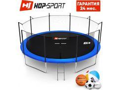 Батуты детские и для взрослых Hop-Sport 488 см. Синий с внутренней сеткой - 5 ножки, Германия. Гарантия 24 мес.