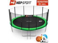 Батуты детские и для взрослых Hop-Sport 488 см. Зеленый с внешней сеткой - 5 ножки, Германия. Гарантия 24 мес.