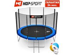 Батуты детские и для взрослых Hop-Sport 305 см. Синий с внешней сеткой - 4 ножки, Германия. Гарантия 24 мес.