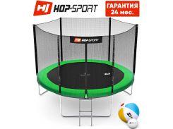 Батуты детские и для взрослых Hop-Sport 305 см. Зеленый с внешней сеткой - 3 ножки, Германия. Гарантия 24 мес.