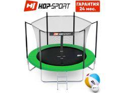Батуты детские и для взрослых Hop-Sport 244 см. Зеленый с внутренней сеткой - 3 ножки, Германия. Гарантия 24 мес.