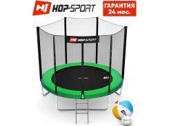 Батуты детские и для взрослых Hop-Sport 244 см. Зеленый с внешней сеткой - 3 ножки, Германия. Гарантия 24 мес.