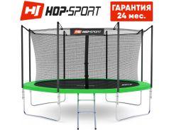 Батуты детские и для взрослых Hop-Sport 366 см. Зеленый с внутренней сеткой - 4 ножки, Германия. Гарантия 24 мес.